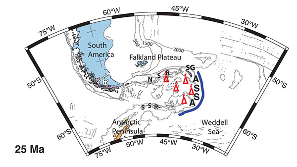 Reconstruction of the Scotia Sea area 25 million years ago, showing volcanoes of the ancestral South Sandwich arc (ASSA). They are now submerged, but were active at that time and possibly emergent. They may have blocked the onset of the Antarctic Circumpolar Current. (NSR = North Scotia Ridge; SSR = South Scotia Ridge; SG = South Georgi. Image Utexas.)