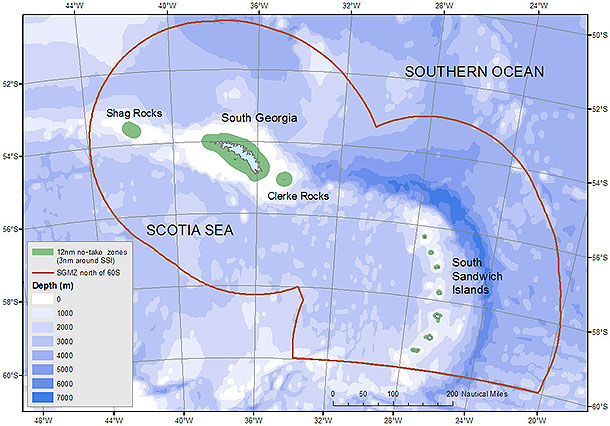Maps showing the extent of the new MPA around South Georgia and the South Sandwich Islands.
