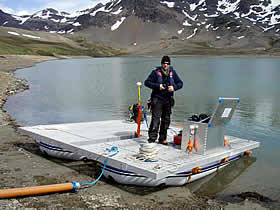 ostein preparing raft ready for sampling Gull Lake