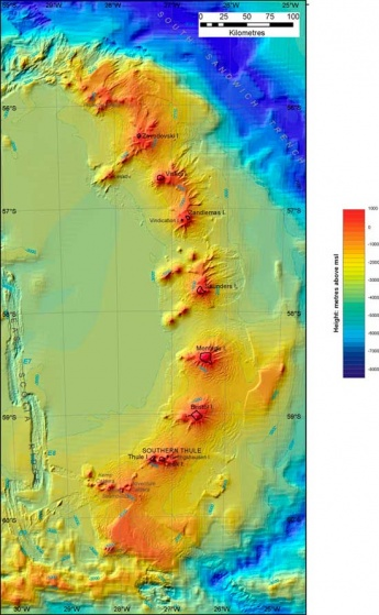 Sea-floor mapping technology reveals volcanoes beneath the sea surface in the South Sandwich Islands. Image BAS