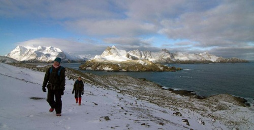 A winter walk on Bird Island. Photo Jerry G Gillham.