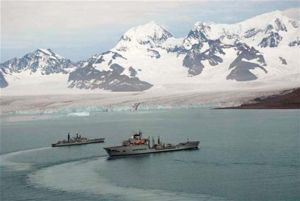 """HMS York"" and ""RFA Wave Ruler"" in CEB. Photos by the pilots of ""Wave Ruler"" helicopter."
