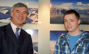 Commissioner Nigel Haywood and photographer Adam Howe at the exhibition. Photo © J. Brock (FINN)