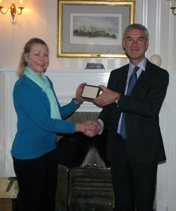 Commissioner Nigel Haywood hands over Ernest Shackleton's signature to Sarah Lurcock who accepted it on behalf of the South Georgia Museum.