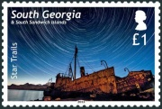 The £1 stamp features star trails over Albatros and Dias.