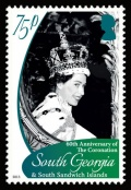 The 75p stamp - Queen Elizabeth II through the window of the royal carriage after being crowned.