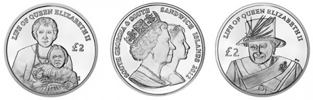 Two coins were released to mark the sixty year reign of Queen Elizabeth II and one to mark a lifetime of service.