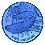 The blue whale coin is made with titanium