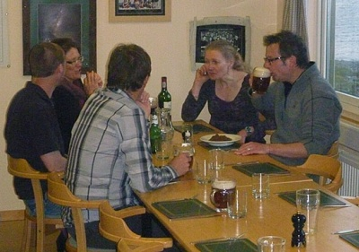 Hugh Fearnley-Whittingstall (right) with diners at KEP. Photo Ali Wilson.