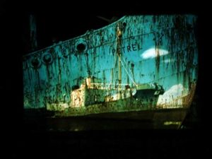 "Some of artist Bridget Steed's projections were onto the old sealer ""Petrel""."