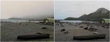 Freshwater Beach on November 1st (right) and on the November 30th (left)