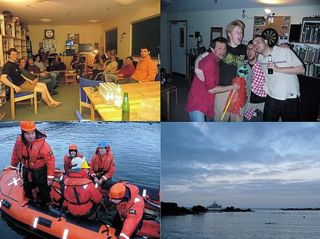 "Clockwise from top-left: Last night of the summer on Bird Island; Derren, Ewan and Dave sing with Fabrice on his last evening; the ""James Clark Ross"" waits offshore at dawn; Fabrice, Dickie and Nerys leave on a RIB to board the ""JCR""."