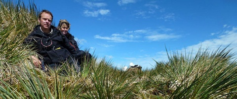 Ken Passfield and Sally Poncet of South Georgia Surveys during the wandering albatross census.