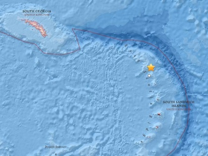The centre of the earthquake was north of the South Sandwich Island arc of islands. Map usgs.gov
