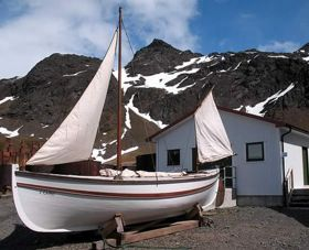 "The ""James Caird"" replica rigged outside the Maritime Gallery."