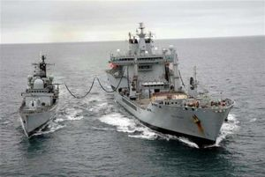 The RN and RFA ship RAS at sea.