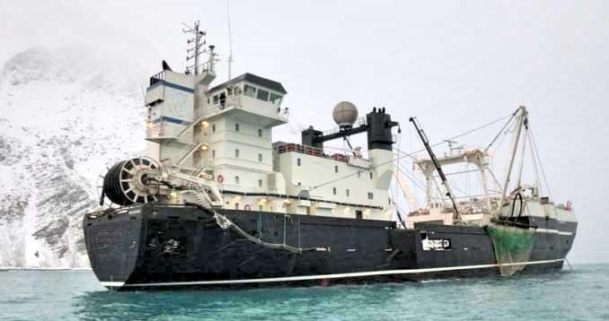 Krill trawler in Cumberland Bay.