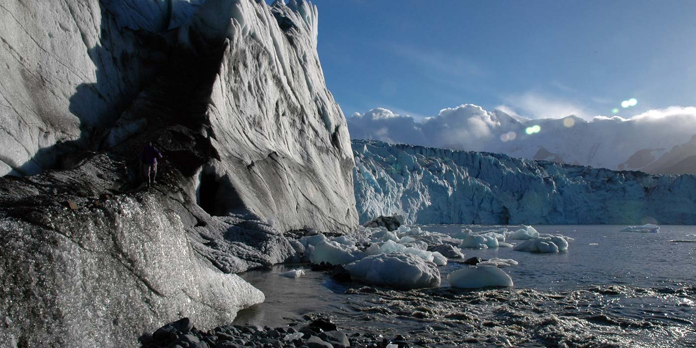 Nordenskjöld glacier flowing north to the head of Cumberland East Bay.