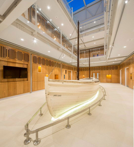 The James Caird in its new position at Dulwich College. Image James Caird Society.