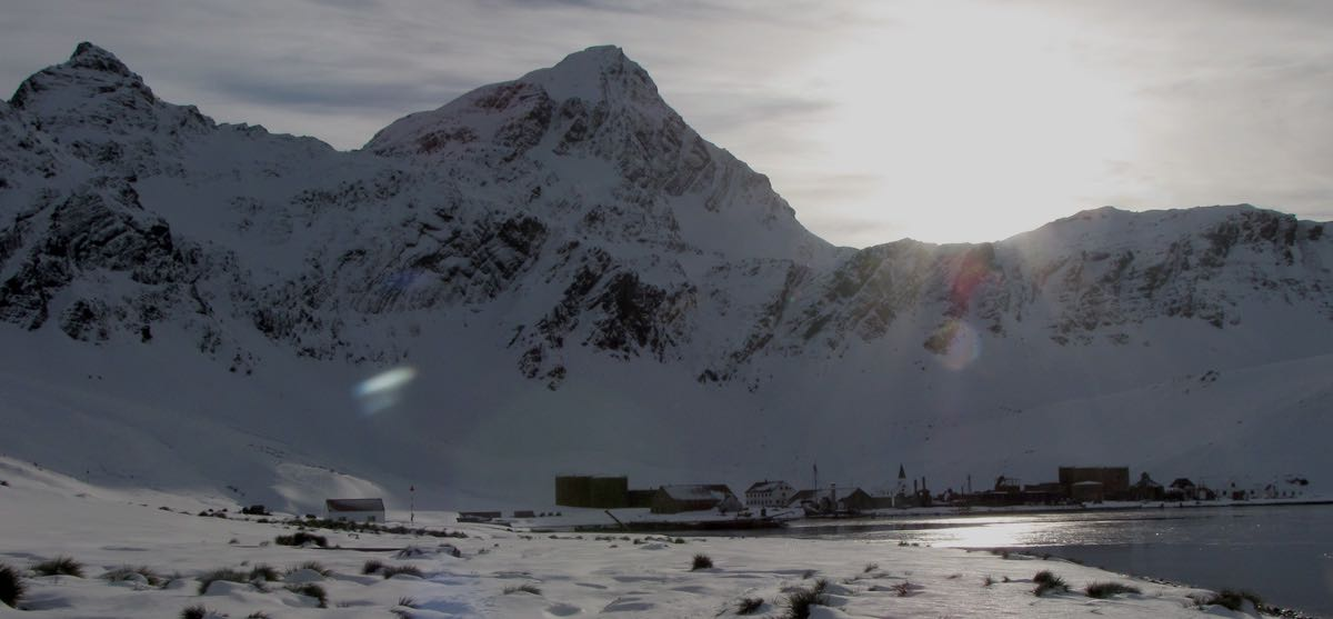 Grytviken whaling station under Mt Hodges on a calm winters day.