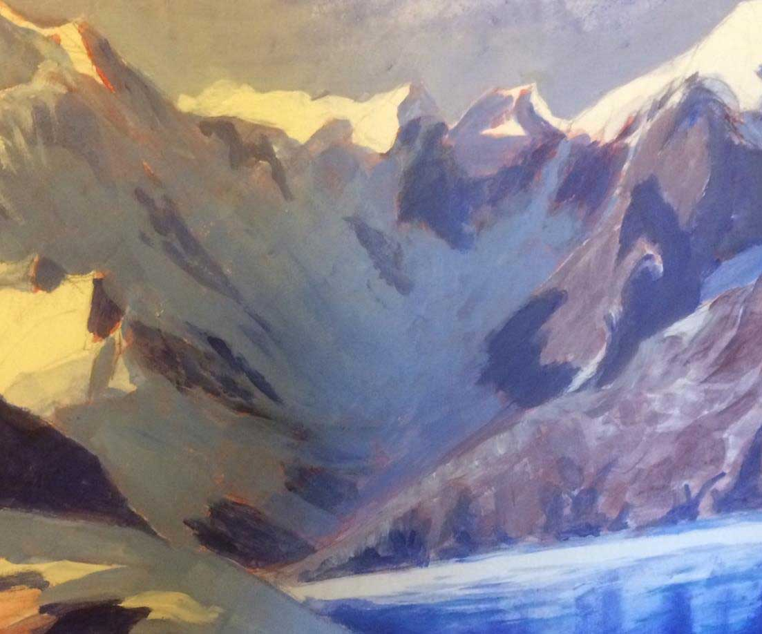 Oil painting by Tom Price: Drygalski Fiord, South Georgia. Copyright Tom Price.