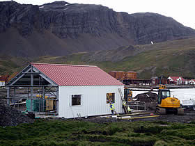 Construction underway on the turbine house at Grytviken. Photo by Ainslie Wilson.
