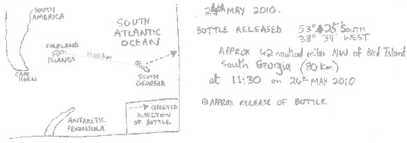 The map was drawn at the top the message in the bottle.