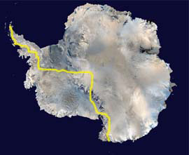 The virtual route of the Race Antarctica.