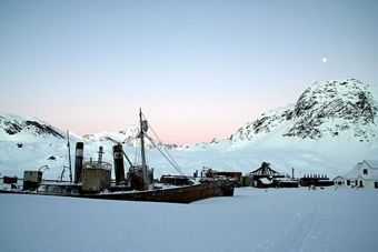 The old sealing vessels at Grytviken at sunset. Photo Anjali Pande
