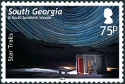 The 75p stamp shows star trails over Maiviken Hut.