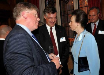HRH The Princess Royal in discussion with SGHT Chairman Howard Pearce and Trustee Professor Frederik Paulsen in the River Room at the house of Lords. Photo SGHT