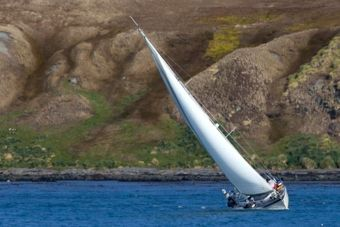 "Yacht ""Girafa"" sails into KE Cove. Photo Samantha Crimmin."