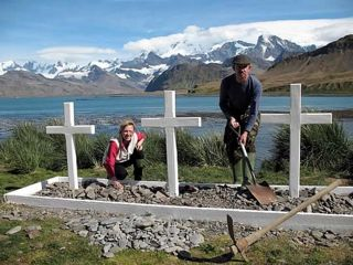 Bob and Nina refurbished the memorial crosses at Hope Point.