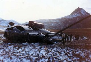 The helicopter that crash landed below Brown Mountain in 1982. Photo Bob Ashton.