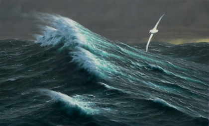 'Storm passing – Wandering Albatross' by Chris Rose. Oil on canvas, size 80 x130cm.