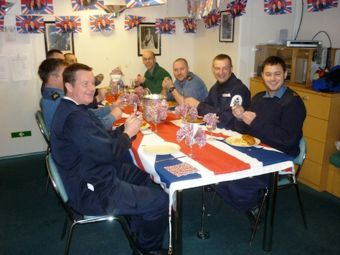 Royal Wedding celebrations in the Senior Rates' mess. Photo Robert Paterson