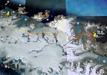 The route taken by the BSES expedition from Sea Leopard Fjord to Husvik on the Shackleton Crossing. Image Google Earth.