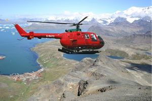 What a Bolkow will look like flying above Grytviken. Photo mock-up SGHT