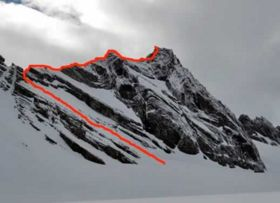 A trace showing the route the taken up Sheridan Peak.