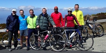 Cyclists on the top of Mt Wellington.