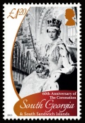 On the £1.20 stamp - Queen Elizabeth II poses with the Royal Sceptre.