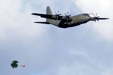 Spare parts were airdropped over Cumberland Bay. Photo Alastair Wilson.