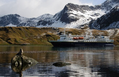 """National Geographic Explorer"" was one of the last tour ships through this season. Photo Alistair Wilson."