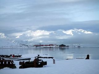The wintry scene looking across to King Edward Point from Grytviken. Photo Steve Artis