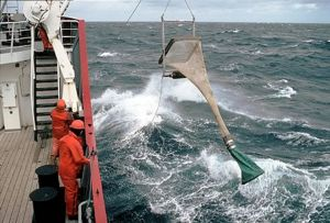 "A sample net is deployed from the BAS ship ""RRS James Clark Ross"" during the BIOPEARL cruise. Photo British Antarctic Survey."
