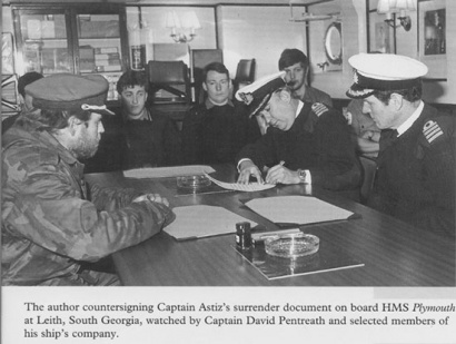 The photo of the surrender that may have helped bring Alfredo Astiz to justice.  Photo from 'Beyond Endurance' by Nick Barker.