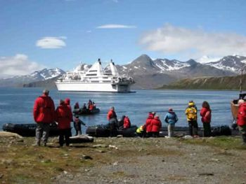 """Le Diamant""  landing passengers at Grytviken. Photo Charlie Keating."