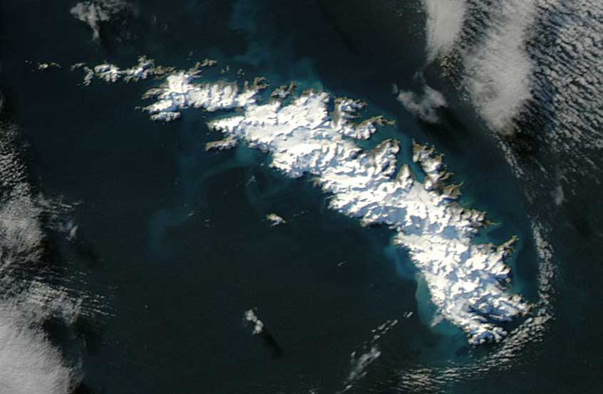 Satellite photo of South Georgia