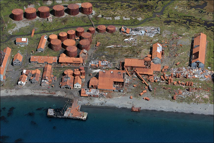 Aerial view of Stromness Whaling Station.
